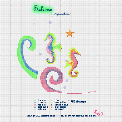 Seahorses x stitch chart by Stephanie Faith 2010