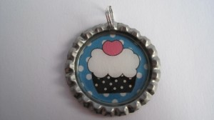 Cup cake bottle cap pendant by Simple Sundries