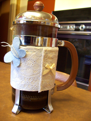 BLUE LACE Coffee Pot Couture by Stephanie Faith